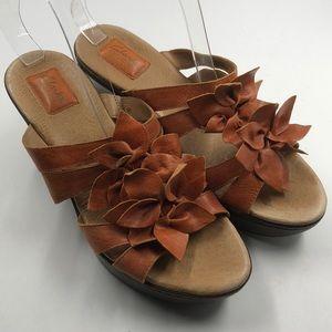 Clarks Bendables Leather Slide Wedge Sandals 9.5